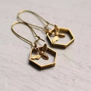 """Home, Sweet Home"" Bee Honeycomb Hexagon Earrings"